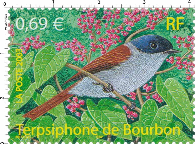 Terpsiphone de Bourbon timbre